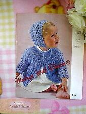 Vintage 1960s Baby's Matinee Coat & Bonnet Crochet Pattern   JUST £1.99 !!!