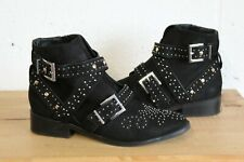 BLACK FAUX LEATHER STUDDED ANKLE CHELSEA BOOTS SIZE 5 / 38 BY RIVER ISLAND USED