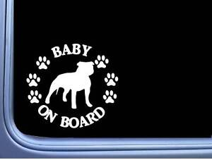 """Baby on Board American Bully Uncropped L474 6"""" pitbull Sticker decal"""