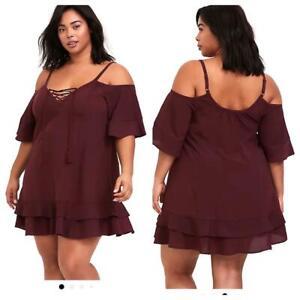 Torrid 00 (M/L, size 10) Burgundy Red Cold Shoulder Lace Up Swim Cover Up Dress