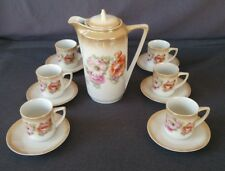 Antique Germany Chocolate Cocoa/Tea Set Pot with 6 Cups & Saucers