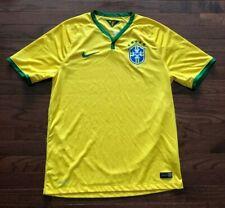 BRAZIL BRASIL SOCCER JERSEY MENS LARGE NIKE YELLOW GREEN CBF NATIONAL TEAM