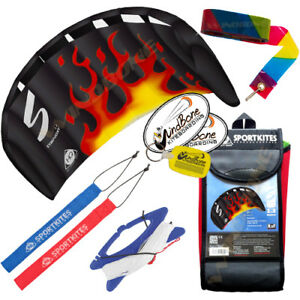 HQ 1.3M 1.3 Symphony Beach III Foil Kite w/Straps Black Flame Fire + 20' Tail