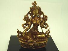 Tibetan Green Tara Gold Gilded Copper Buddhist Meditation Statue 3.5 Inches