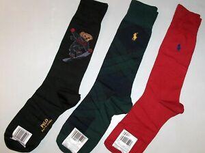 POLO RALPH LAUREN Men's Cotton Snowboarding Bear Black Socks, Plaid, Pony 3 PAIR