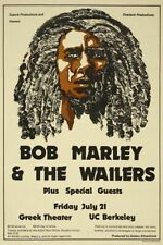 Bob Marley & Waier  Concert VINTAGE BAND POSTERS Song Rock Travel Old Advert #ob