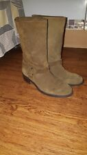 ladies brown/khaki zara basic collection suede boots size 6 pull on