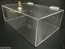 "Acrylic Lucite Clear Countertop Display Show Case 12"" x 9"" x 5"" Locking Safe Box"