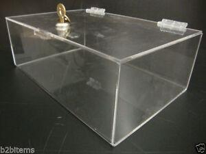 "DS-Acrylic Clear Countertop Display ShowCase 12"" x 8"" x 4"" Locking Safe Box"