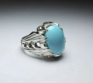 Solid 925 Sterling Silver Turquoise Gemstone Engagement Boys Mens Ring