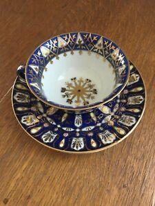 Royal EPIAG Porcelain Czech Cobalt Blue and Gold Cup and Saucer