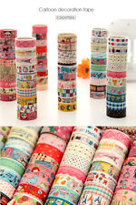 10pcs Sticky Adhesive Sticker Decorative Washi Tape DIY 1.5cm*3m Colorful