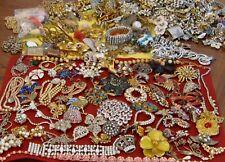 Large Lot Vintage Costume Jewelry Rhinestones Repair Harvest Crafts Signed