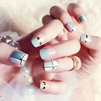 24pcs light blue artificial false nail short fake nails art tips diy sum *