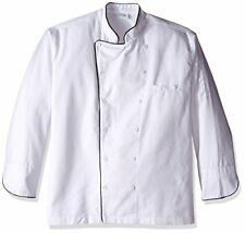 Dickies Chef Executive Coat with Stain Repellent with Piping, White/Black, 4X-La