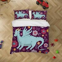 3D Hand Drawn Dinosaur Floral Quilt Cover Sets Pillowcases Duvet Comforter 144