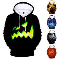 Halloween Long Sleeve Casual Hoodie 3D Print Sweather Horror Mischief Pullover