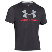Under Armour Sportstyle Logo T-Shirt black red steel 1257615-001 Charged Cotton