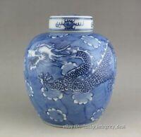 Fine Chinese Old Blue and White Dragon Porcelain Lid Jar tank Pot Vase