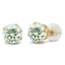 1.90 Ct Round 6mm Green Amethyst 10k Yellow Gold Stud Earrings
