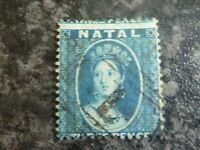 NATAL SOUTH AFRICA POSTAGE STAMP SG11 3D BLUE FINE USED
