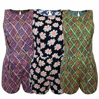 NEW LADIES WOMENS PAISLEY FLOWER AZTEC PRINTED JUMPSUIT BACK ZIP DRESS PLAYSUIT