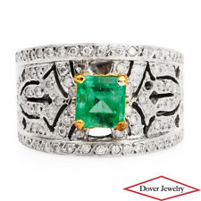 Estate Diamond 2.44ct Emerald 14K Gold Filigree Cluster Band Ring 10.8 Gr NR