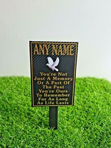 Memorial Plaque Personalised In Loving Memory marker grave headstone plate gold