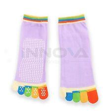 Yoga Fitness Grip Excercise Five Toe Socks Rubber PNon Slip Socks Light Purple
