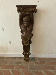 wall hanging, resin, dark wood finish, sold individually or pair