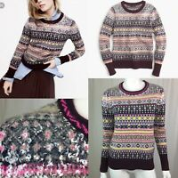 $128 J. Crew Women's XS Fair Isle Lambs Wool Knit Sequin Pullover Sweater