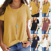 Womens Casual Short Sleeve T Shirt Blouse Ladies Cute Knot Tee Tops Plus UK