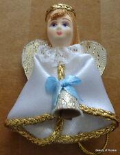 Russian fabric porcelain face  handmade  ornament christmas  angel w/bell #2