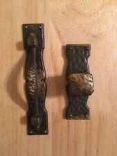 Vintage National Lock Door/Drawer Pulls/Handles Hammered Antique Brass Finish