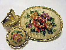 VTG 1940s PIN&CLIP EARRINGS SET PETIT NEEDLE POINT EMBROIDERY ROSE FLOWER GOLD T
