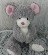 """Russ Rikey Austin Michief Mouse Grey Gray Pink 11"""" Magnectic Hands Plush Stuffed"""