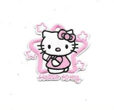 SANRIO HELLO KITTY Pink Stars  Fabric Embroidered Iron/Sew On Patch