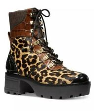 Michael Kors Khloe Booties Boots Heels Lace Up Leopard Butterscotch 5.5 M $295
