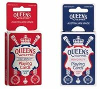 4 x QUEEN'S Slipper 52's Playing Cards Decks Bridge Casino Quality 2 Blue 2 Red