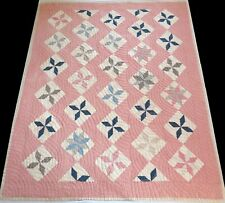 Antique Early 1900's Hand Stitched Pinkish Red 8 Point Star Quilt 77x65
