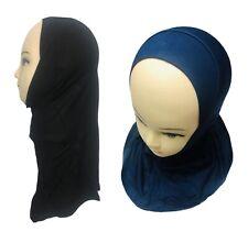 Good Quality One Piece Hijab Black Navy Blue Kids School Stretchy Viscose Muslim