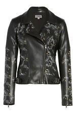 CHELSEA28 Print Faux Leather  Biker Jacket Flowers Branches Black XS NEW AUTH