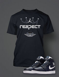 Navy Blue Tee Respect Graphic Tee Shirt To Match AIR JORDAN 1 RETRO HIGH JETER