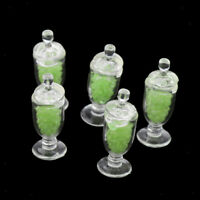 1:12 Scale Miniature Dollhouse Clear Candy Jars Kitchen Accessories Green