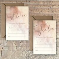 BIRTHDAY INVITATIONS BLANK ROSE GOLD & MOCHA MARBLE EFFECT 11TH,12TH PACKS OF 10