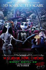 NIGHTMARE BEFORE CHRISTMAS 3D RR2008 Original DS 2 Sided Movie Poster Tim Burton