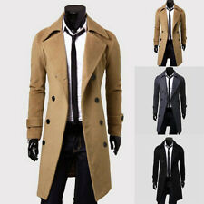 Mens Winter Warm Long Jacket Slim Button Lapel Trench Coat Overcoat Windbreaker
