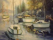 BARCHE sul fiume blu grande dipinto a olio su tela arte moderna 20x24 ALBERI