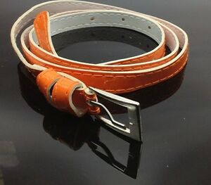 Fashion Cross Buckle Women Girl Faux Leather Candy Color Thin Skinny Belt