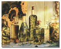 Olive Oil & Sunflowers Kitchen Floral Garlic & Herbs Wall Art Print Picture